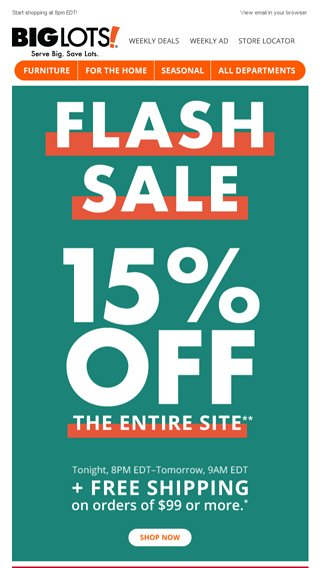 flash sale 15 off entire site big lots email archive - Big Lots After Christmas Sale