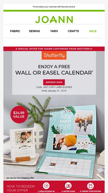 Kick Off 2019 With A Free Photo Calendar Joann Email Archive