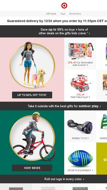 1cc6d4d8fa6 Up to 50% off toys + tons of other deals on kids' gifts. - Target Email  Archive