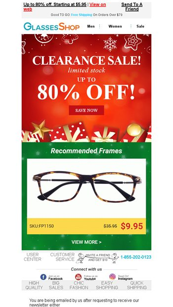 ae1bceb56357 ALERT! Stock limited! Save big before the holidays. - Glassesshop Email  Archive