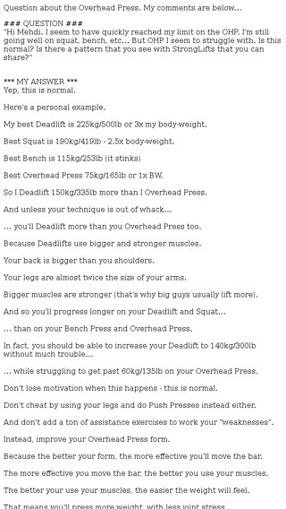 stuck on overhead press? read this - Mehdi Email Archive