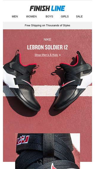 hot sale online 761b4 f52e2 Nike LeBron Soldier XII 'Bred' - Finish Line Email Archive