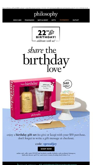 One Day Only Free Birthday Gift Set When You Spend 50