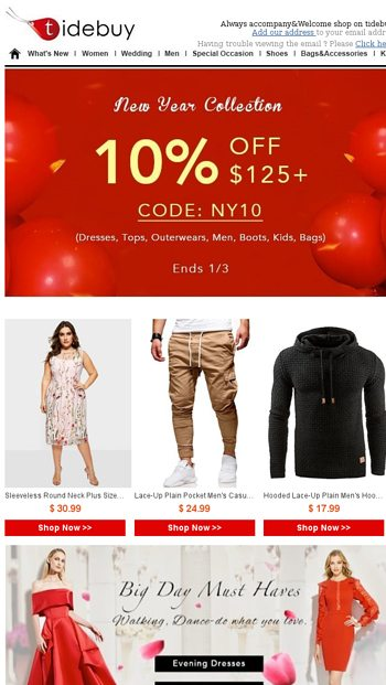 2995e94887 New Year is coming! Have You Finished Your Shopping List   - Tidebuy Email  Archive