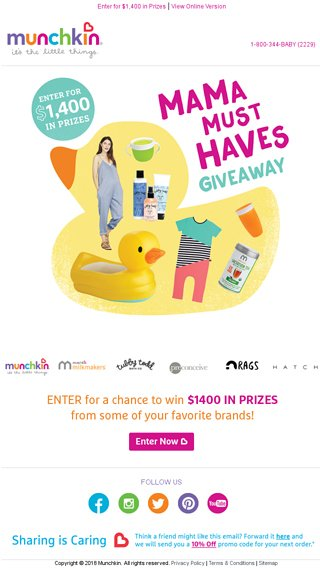 Enter now to win $1400 in Mama Must Haves - Munchkin Email Archive