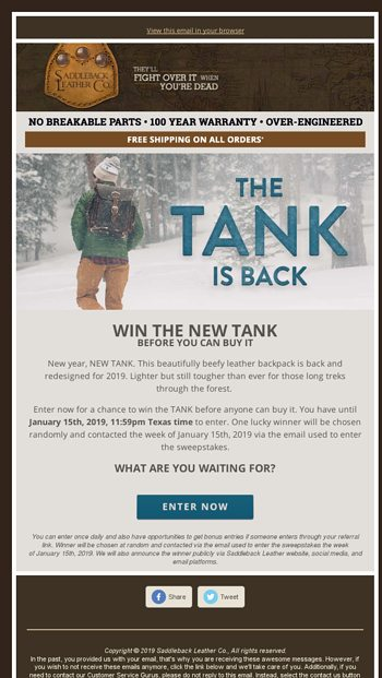 WIN THE NEW TANK before you can buy it! - Saddleback Leather