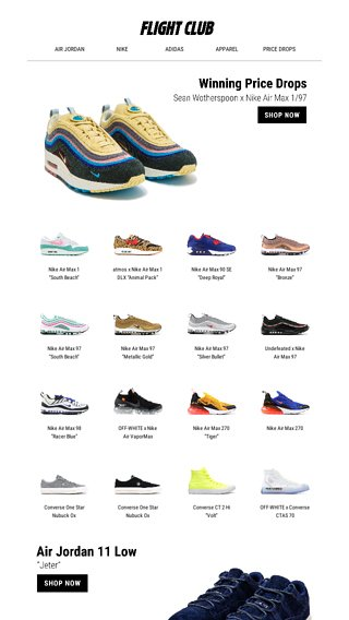 huge selection of 20ced 76517 Winning Price Drops feat. the Sean Wotherspoon x Nike Air Max 1 97 and  more. - Flight Club Email Archive