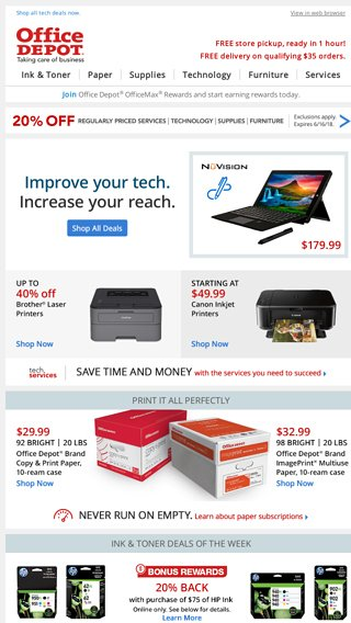 act now 20 off services tech furniture office depot email archive