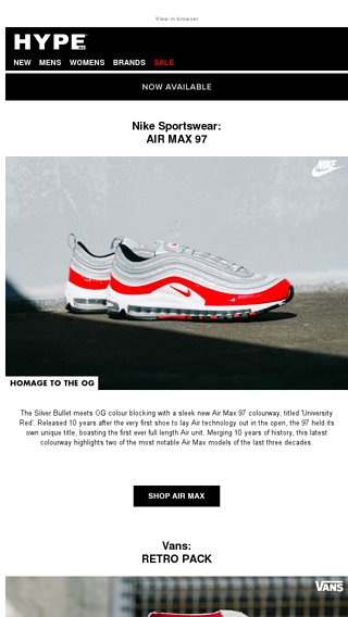 online store a29f1 8606e Nike Air Max 97, Vans Retro Pack, Dr. Martens, Filling Pieces   more - Hype  DC Email Archive