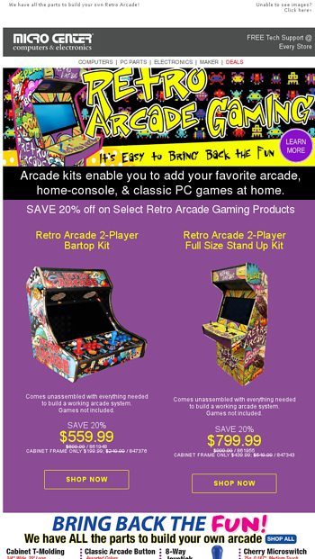 Save 20% off Select Retro Arcade Gaming Products - Limited