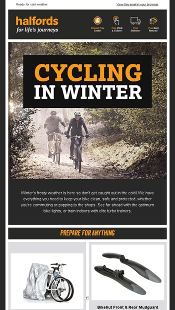 Cycling in Winter    - Halfords Email Archive