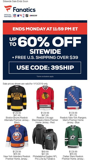 info for b7afd 949dc HURRY! Don t Miss Up To 60% Off - Fanatics.com Email Archive