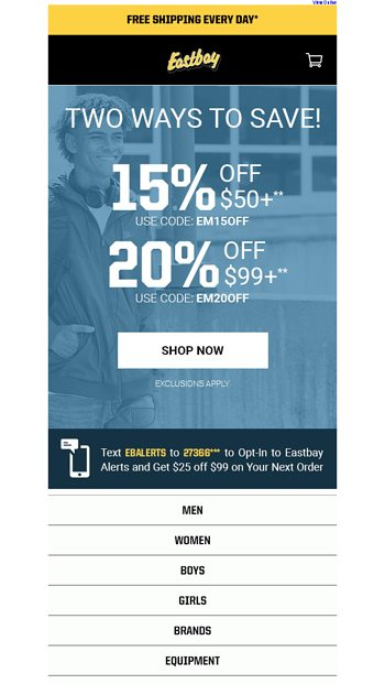 7af583a15 Take an extra 25% off select styles! - Eastbay Email Archive