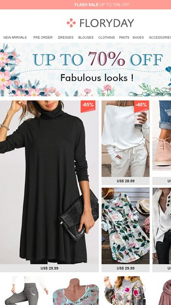 3f1bbd8b96918 Fabulous looks ! Up to 70% off - Floryday Email Archive