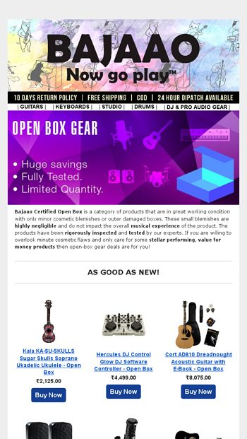 Maximum savings on Open Box products! - BAJAAO COM Email Archive