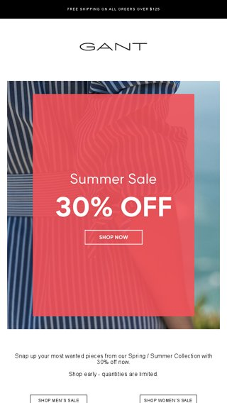 sale online no sale tax nice shoes SUMMER SALE IS ON: ENJOY 30% OFF - GANT Email Archive