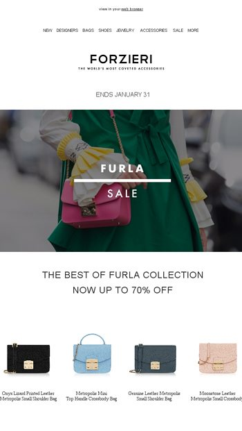 b45119652 The Furla SALE | Ends Jan 31 - FORZIERI Email Archive