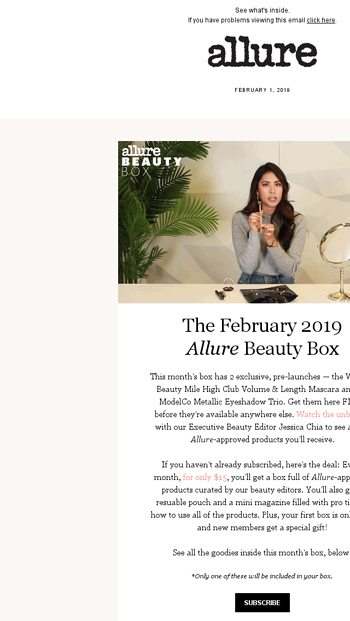 b0a9a1d4325 The February Beauty Box: Wander Beauty, The BrowGal, and more - allure  Email Archive