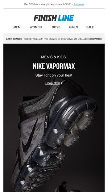 official photos 89ff4 b4d52 Fresh, light, VaporMax is all you need. - Finish Line Email ...