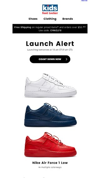 the latest 8173d 4f516 Releasing 6.16  Nike AF1 Low and AF1 Mid-Summit - Kids Foot Locker Email  Archive