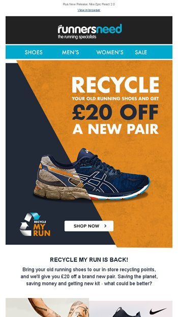 Recycle your old running shoes for £20
