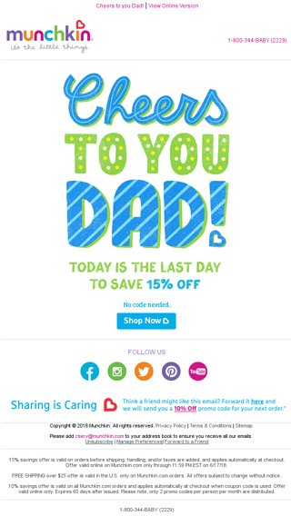 Last Day to Save 15% OFF | Happy Father\'s Day! - Munchkin Email Archive
