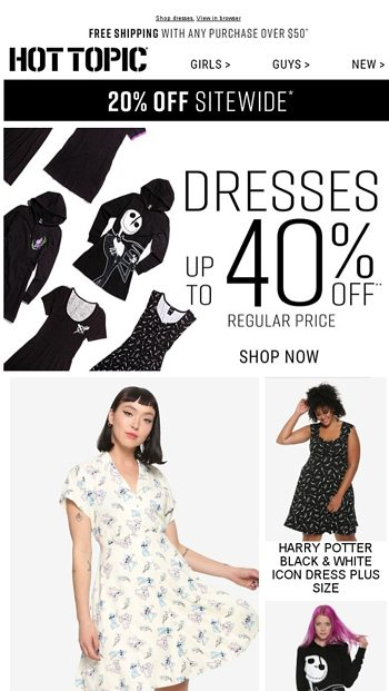 d8eb06b5369b9 Your new favorite dress is up to 40% off. - Hot Topic Email Archive