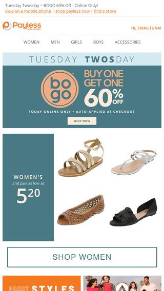 fb19e27a1e5 TODAY ONLY: BOGO 60% Off EVERYTHING! - Payless Email Archive