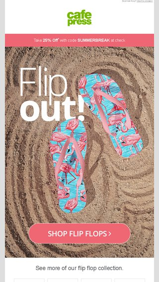 d1a2c33f2a70 Say Hello to Flip Flop season - now  17.95 + 25% off - CafePress Email  Archive