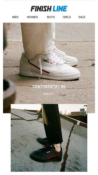 1ac9bdbe0450 Men s adidas Continental 80. In 2 new colorways. - Finish Line Email Archive