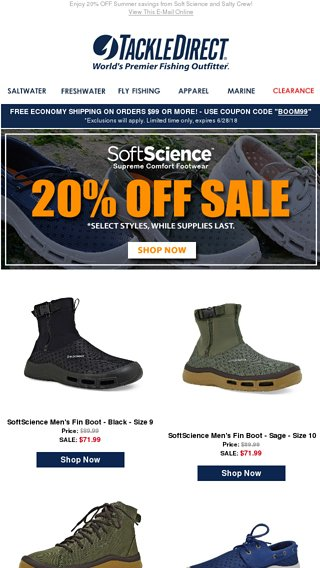 32c439bf6f6ad2 20% Off Select Soft Science Footwear and Salty Crew Apparel! - TackleDirect  Email Archive