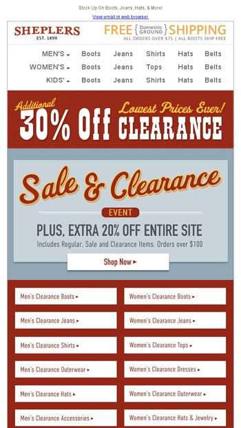 de4667a81934f Don t Miss Our Biggest Clearance Event Deals! - Sheplers.com Email ...