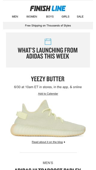 1ab1e0a947fe6 This week s adidas launches  including YEEZY  Butter . - Finish Line Email  Archive