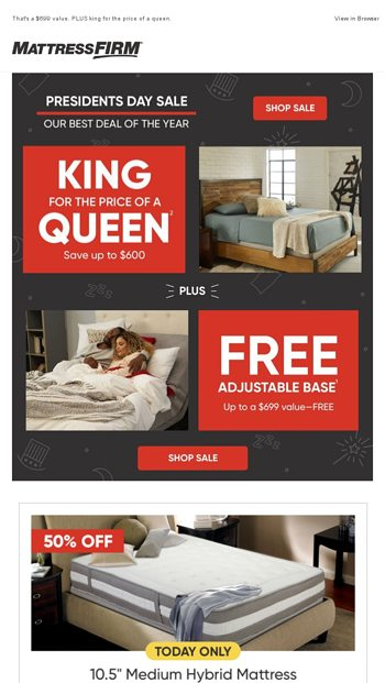 Presidents Day Sale Free Adjustable Base Mattress Firm Inc