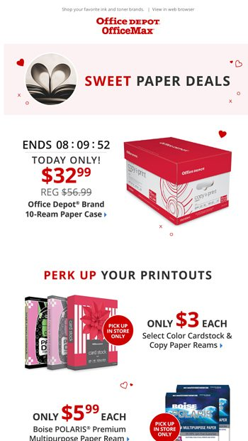 32 99 Office Depot Copy Paper 10 Ream Case Today Only