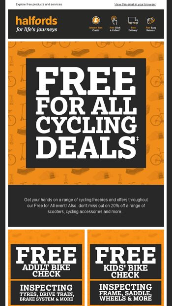 Free For All Cycling Deals Halfords Email Archive