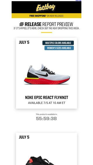 3e8306067450 Launch Preview  Jordan Retro 1 + Nike Epic React launching soon! - Eastbay  Email Archive