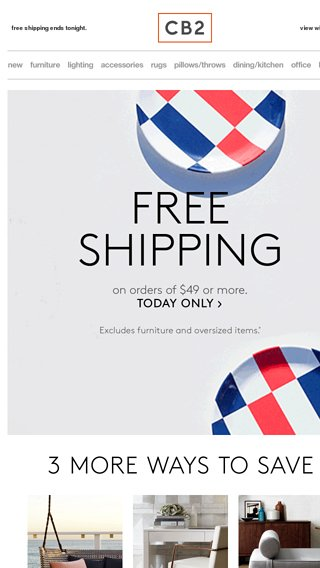 Cb2 Free Shipping >> Free Shipping Ends Tonight Cb2 Email Archive