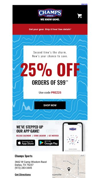 3963a13596e3 💸 Let s try this again. Get 25% OFF! - Champs Sports Email Archive