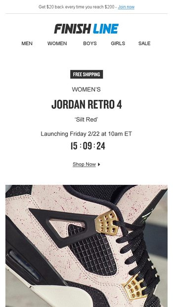 huge selection of 93297 76f97 Women's Jordan Retro 4 'Silt Red'. - Finish Line Email Archive
