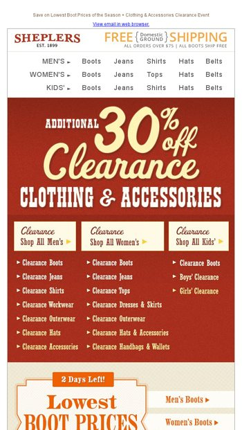 b9f80d1b0 New Clearance Markdowns - Save an Extra 30%! - Sheplers.com Email Archive