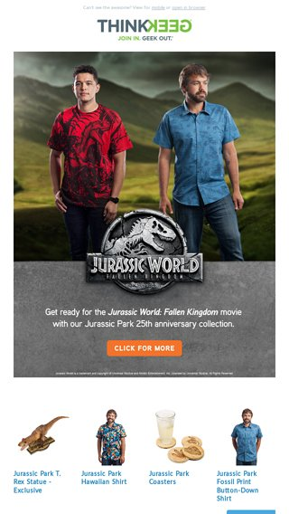 87e40bde Jurassic times call for Jurassic measures - ThinkGeek Overlords Email  Archive