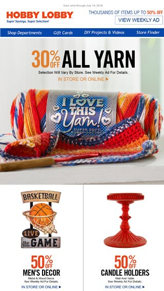 This Yarn Sale is off the Hook! - Hobby Lobby Email Archive