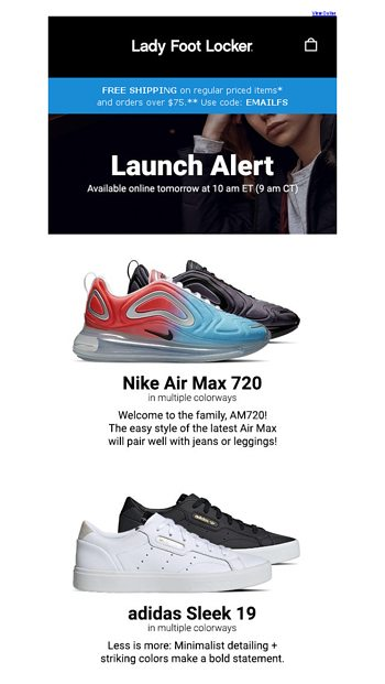 3e2dd6e5e541 New release  Nike Air Max 720 and adidas Sleek—available 2.28 - Lady Foot  Locker Email Archive