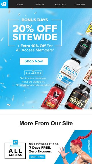 SITEWIDE 20% off + an extra 10% off for All Access members