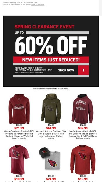 cf8a0313a Spring Clearance Event  Up to 60% OFF Cardinals Gear - NFLShop Email Archive