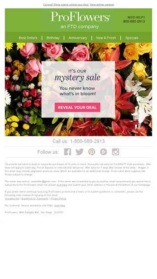 70e102e51c MYSTERY SALE  Unlock your deal to save big! - ProFlowers Email Archive