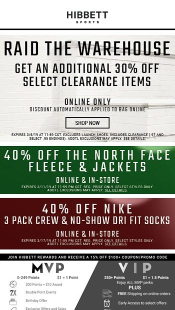 ee0c40ced8 🤩 BEST SALE EVER! Get 20% off select clearance items! - Hibbett ...
