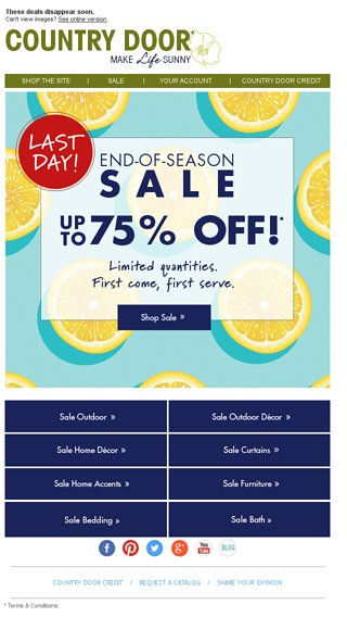 Last Day End Of Season Sale Up To 75 Off Country Door Email Archive