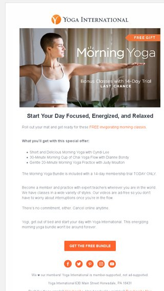🔆 Start your day off bright! - Yoga International Email Archive